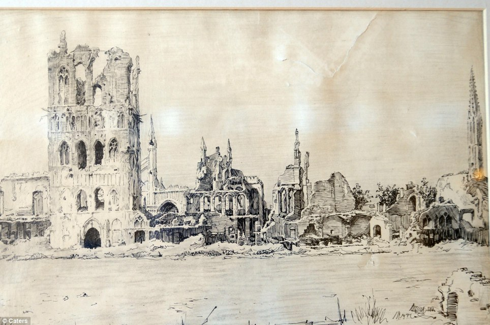 Pen and ink drawing of the ruins of Ypres