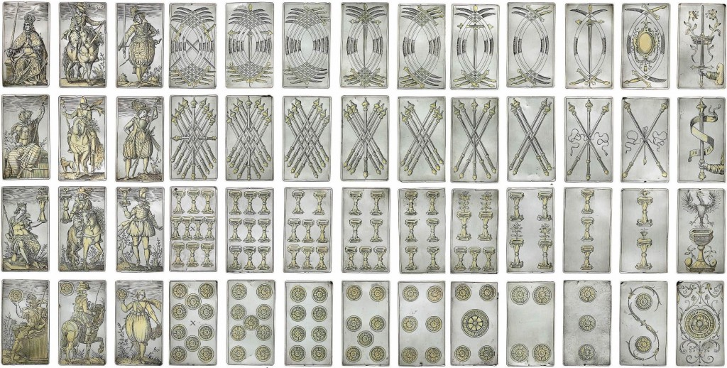 Gilt silver Italian-suited playing cards by Michael Frömmer of Augsburg, 1616