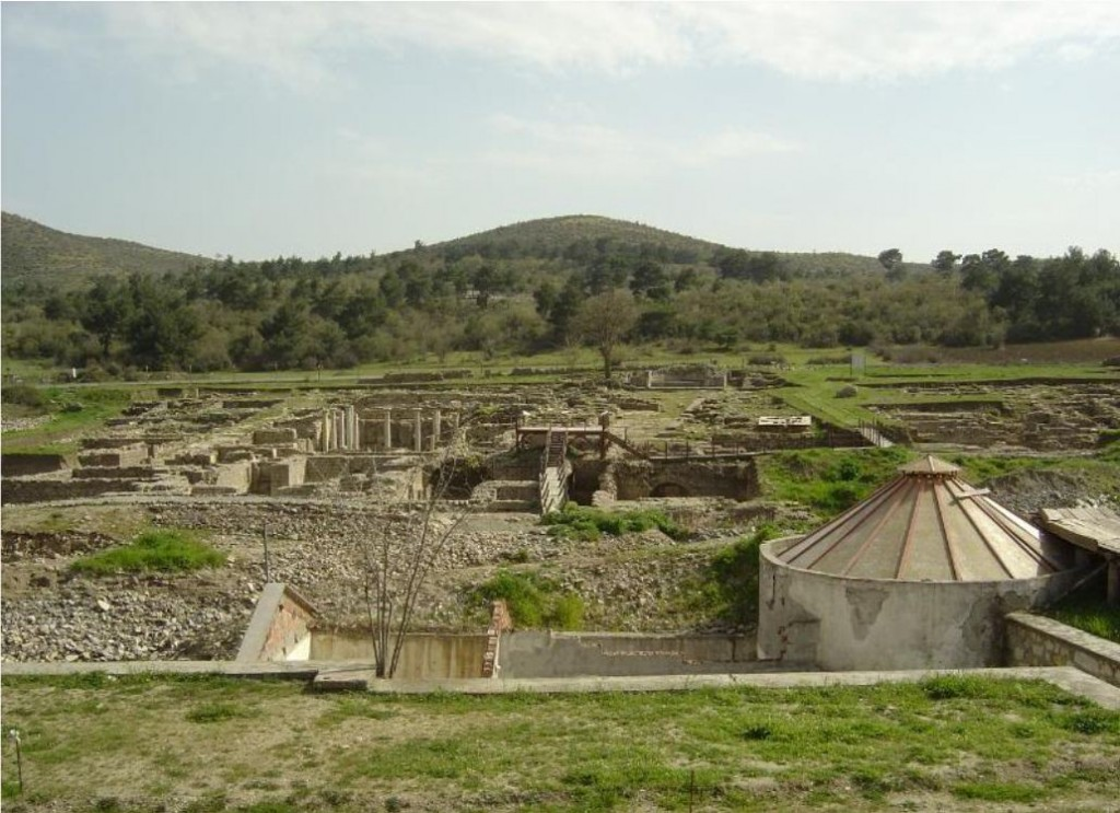 Allianoi site, reconstructed thermal baths on the front right