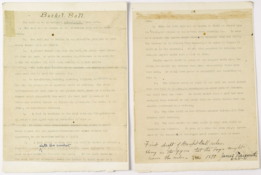 James Naismith's Founding Rules of Basketball