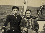 Tatsuo Osako during WWII on a ship with unknown woman