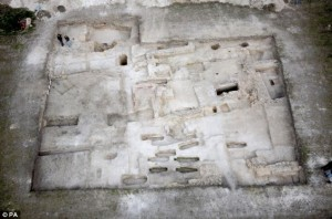 Arial view of early hospital foundations, Winchester
