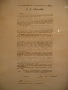 Emancipation Proclamation signed copy
