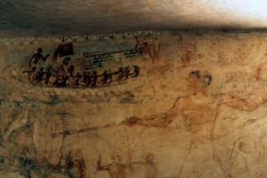 Painting of a hunt scene in the tomb of Rudj-Ka