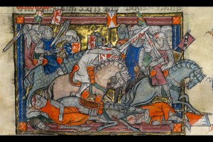 Illumination of Arthur fighting Saxons, from the Rochefoucauld Grail