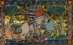 Gawain in battle, from the Rochefoucauld Grail