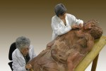 Restorers working on 'Madonna and Child'