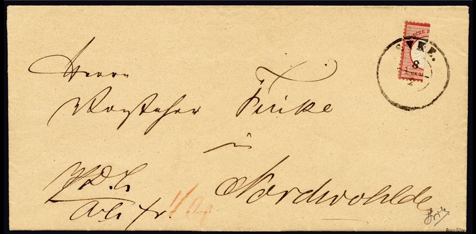 Syke bisect, postmarked 1872