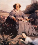 Madame Clicquot with her granddaughter, by Léon Cogniet, ca. 1860