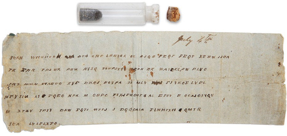 Civil War bottle with coded message and bullet