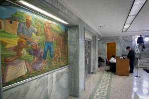 George Beattie mural of slaves harvesting sugar cane in lobby of GA Dept. of Agriculture