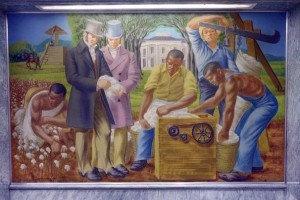 George Beattie mural of slaves picking and ginning cotton