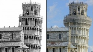 The Leaning Tower of Pisa in 1992 (left) and today (right)