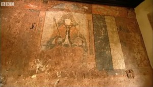 Henry VIII painting found behind layers of plaster, wallpaper and wood paneling, ca. 1530