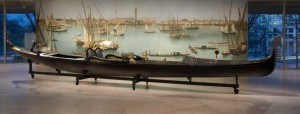 Moran gondola on display at entrance to Canaletto exhibit