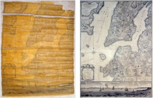 "Ratzer ""Plan of the City of New York"" map, 1770, before (l) and after (r) restoration"
