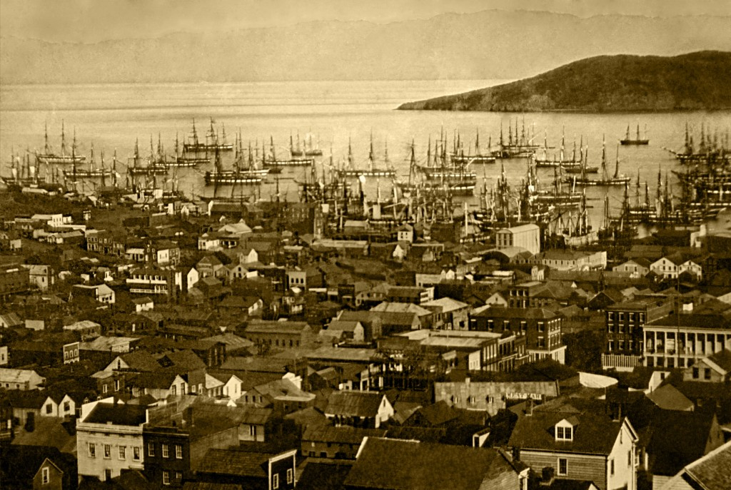 San Francisco harbor bristling with merchant ships, 1850-1851