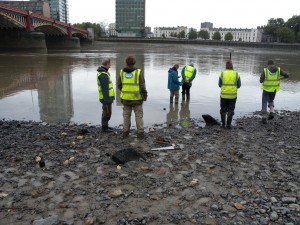 Vauxhall Mesolithic timber site, low tide
