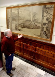 Agriculture commissioner Roger Albee views Norman Rockwell mural on Dept. of Ag's wall