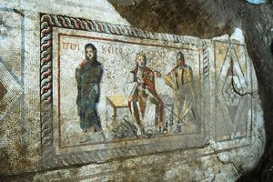 "Antioch mosaic depicting scene from ""Girl Whose Hair is Shorn"""