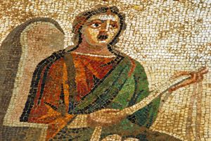 "Antioch mosaic depicting Menander scene from ""Sisters Who Love Brothers"""
