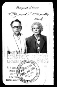 Raymond Chandler and Cissy in a 1952 passport photo