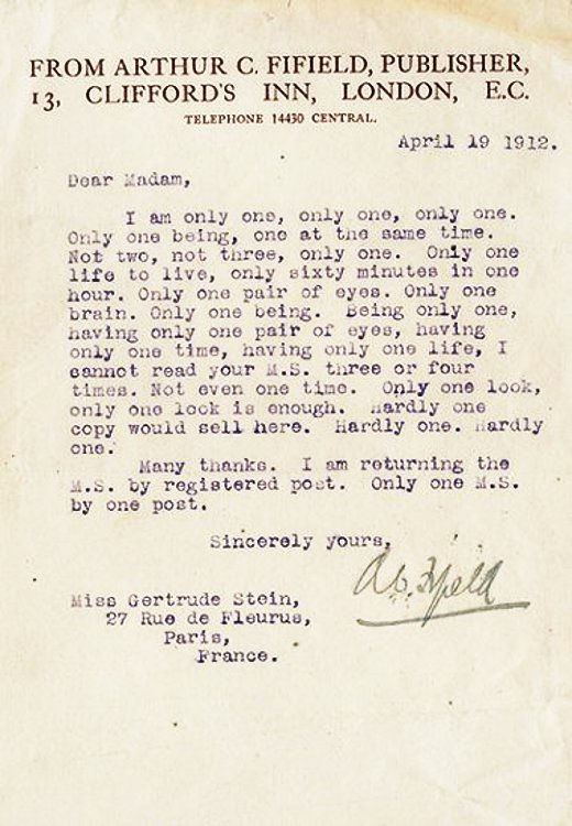 Gertrude Stein rejection letter