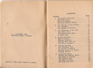 "Table of contents, ""The Art of Kissing"" by Clement Wood"