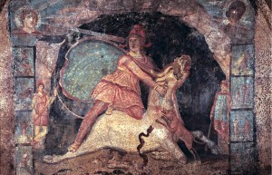 Fresco of Mithras slaying the bull, 2nd c. AD, Marino, Italy