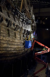 Marika Hedin replacing rusted bolts on the Vasa