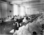 Women at their sewing stations in the Triangle Shirtwaist Factory