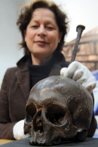 Hamburg Museum director Lisa Kosok with the alleged skull of pirate Klaus Stoertebeker