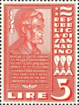 1938 San Marino Lincoln stamp, scarlet