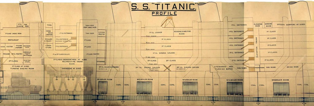Section of the Titanic plan used during the Board of Trade inquiry