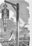 Captain Kidd hanging in a gibbet after 1701 execution