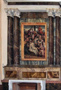 The 'Deposition' by Dono Doni over the altar of St. Vitalis, in the Cathedral of San Rufino