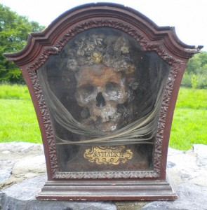 The purported head of St. Vitalis in its Queen Anne display case