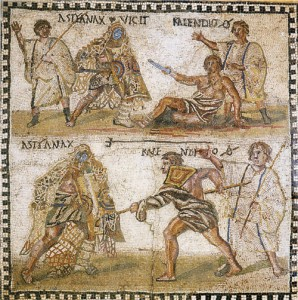 Astyanax vs. Kalendio mosaic, summa rudis top right and bottom left