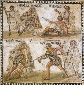 Astyanax vs. Kalendio mosaic, summa rudis top right and bottom left