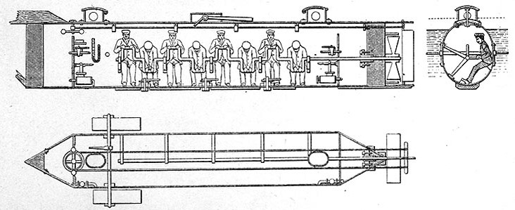 Cutaway drawings based on sketches by William A. Alexander who directed her construction