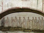 Eleven togate men, probably apostles, in the hypogeum of the Aurelii