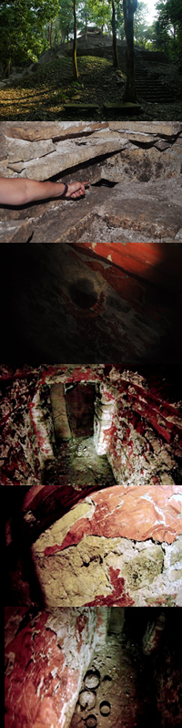 Temple XX; the hole the camera dropped down; first glimpse of burial chamber; interior of the burial chamber