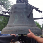 The 1801 Revere &amp; Sons bell loaded into a truck for transport to Boston