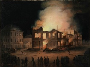 The Burning of the Parliament Building in Montreal, by Joseph Légaré, ca. 1849
