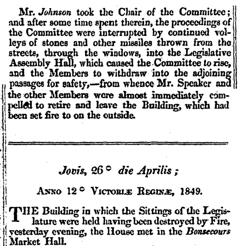 Journal of Legislative Assembly Province Canada for April 25, 1849, and April 26