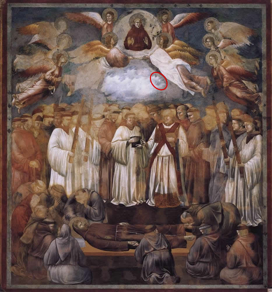 Ascension of St  Francis by Giotto di Bondone  devil circled in redGiotto Di Bondone Frescoes