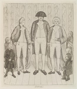 Charles Byrne (in the middle), the Knipe twins (also Irish giants) flank him