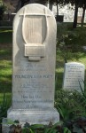 Keats&#039; grave in the Protestant Cemetery, Pyramid of Cestius visible in the right background