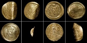 Byzantine and Merovingian gold coins, 6th c. A.D.