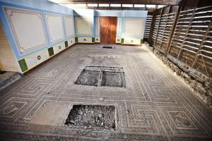 Brutalized mosaic floor at the Villa Romana de Santa Cruz